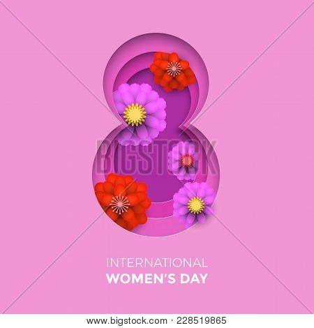 International Women's Day Paper Cut Illustration With Frame Number Eight For 8 March Card. Happy Wom