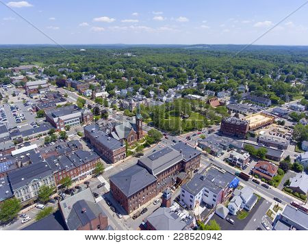 Natick First Congregational Church, Town Hall And Common Aerial View In Downtown Natick, Massachuset