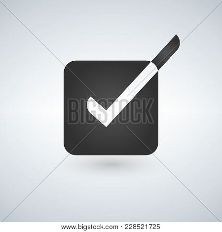 Bright Check Box Icon With White And Black Checkmark. Vector Illustration