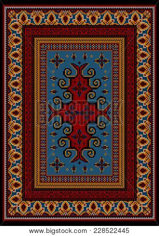 Vintage Luxurious Carpet With Red And Yellow Ethnic Patterns With A Blue Field In The Center