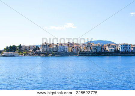 Corfu Island Panorama. Kerkyra Town View From Water