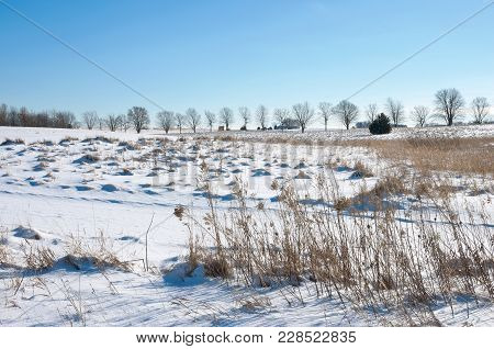 Snow Covered Prairie Of Spring Lake Park Reserve Outside Hastings In Dakota County Minnesota