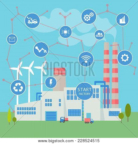 Smart Start Factory. Internet Of Things And Big Data Concept. Neural Network Of All Connections And