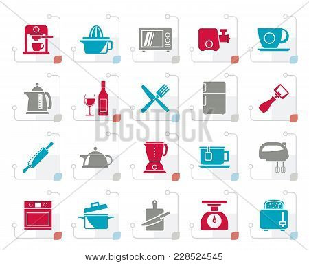 Stylized Kitchenware Objects And Equipment Icons - Vector Icon Set