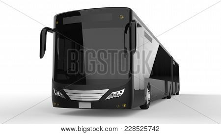 A Large City Bus With An Additional Elongated Part For Large Passenger Capacity During Rush Hour Or