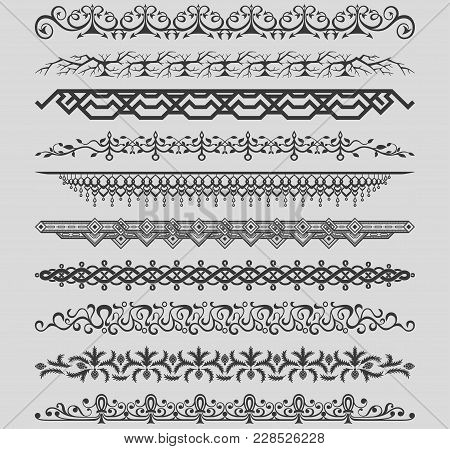 Collection Of Vector Vintage Dividers. Vector Illustration.