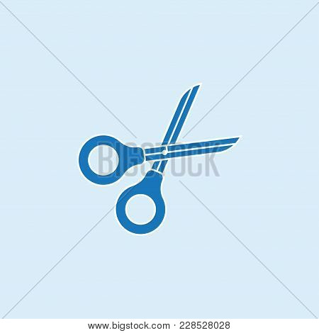 Scissors Icon In Flat Style Isolated On Blue Background. Scissors Symbol For Your Design And Logo. V