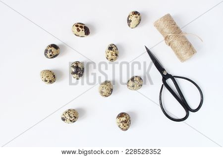 Easter, Spring Greeting Card, Invitation With Quail Eggs, Black Scissors And Natural Rope On White T