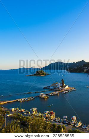 View Of Monastery And Mouse Island In Corfu, Greece