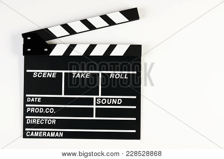 Movie Production Clapper Board. Black Clapperboard Isolated On White Background With Copy Space, Clo