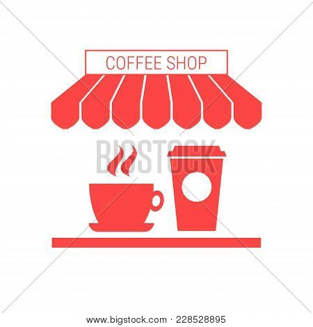 Coffee Shop, Cafe Single Flat Vector Icon. Striped Awning And Signboard. A Series Of Shop Icons.