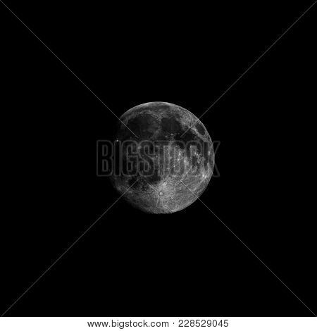 High Contrast Full Moon Seen With Telescope