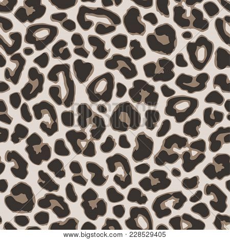 Brown Leopard Or Jaguar Seamless Pattern. Modern Animal Fabric Design, Vector Illustration Backgroun