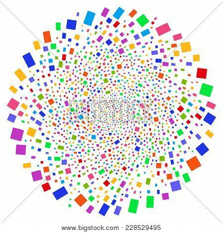 Multicolored Rectangle Shape Centrifugal Circle. Impressive Cycle Done By Random Rectangle Shape Obj