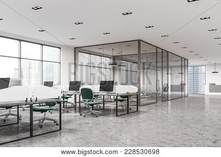 Modern Office Interior With White Walls, Large Windows, White Desks And Green Office Chairs. A Confe