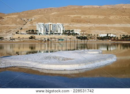 Neve Zohar, Israel - February 24, 2018: Hotels And Patterns From Salt On The Dead Sea Resorts In Ein