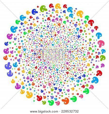 Attractive Champignon Mushroom Centrifugal Sphere. Impressive Cyclone Created With Randomized Champi