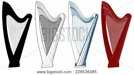 Harp Illustration Isolated On White Background Vector