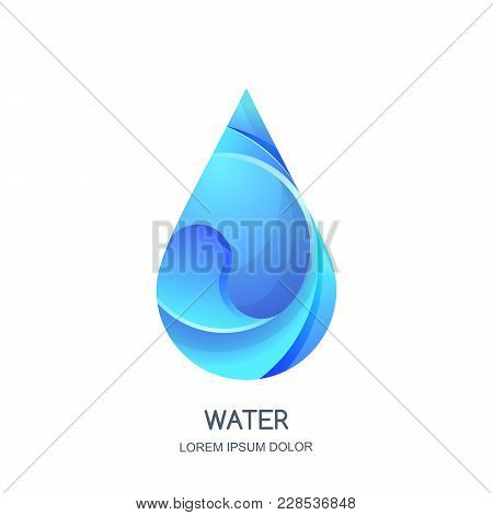 Vector Logo Icon Design Template. Natural Clean 3D Water Drop. Abstract Blue Aqua Droplet