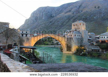 Mostar Bridge. The Old Bridge. Mostar Bosnia Herzegovina. Photo Of The Old Turkish Bridge In Mostar.
