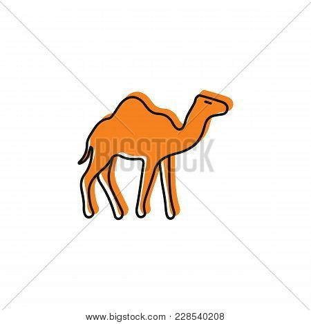 Egyptian Camel Icon In Doodle Style. Egypt Camel Object Vector Illustration Isolated On White Backgr