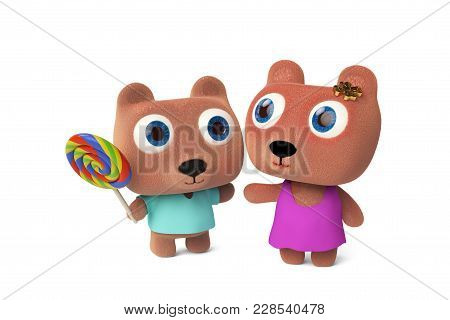 Mama Bear And Baby Bear Holding A Lollipop.3d Rendering