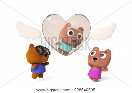 Badby Bear In  A Love Angel.papa Bear And Mama Bear Greet The Baby On The Ground.3d Rendering
