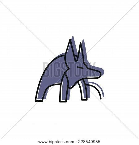 Egyptian God Anubis Icon In Doodle Style. Egypt God Anubis Object Vector Illustration Isolated On Wh