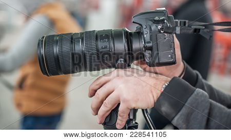 Man Hand Holding Camera And Take The Photo
