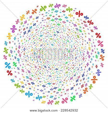 Bright Percent Swirl Spheric Cluster. Impressive Twirl Organized With Randomized Percent Elements. V