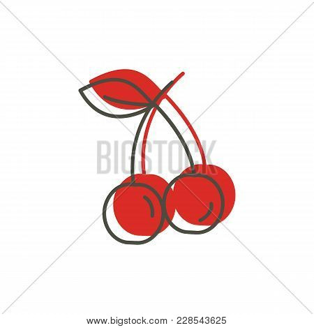 Cherry Icon In Doodle Style. Vector Illustration With Cherry Isolated On White Background. Doodle Fr