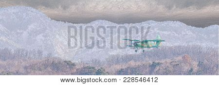 Illustration Of Biplane Flying Over Rough Mountainous Terrain With Storm Clouds Building Above Mount