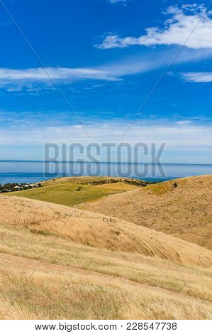 Spectacular Landscape With Rolling Hills Covered With Dry Yellow Grass And Blue Sea On Clear Day. Au