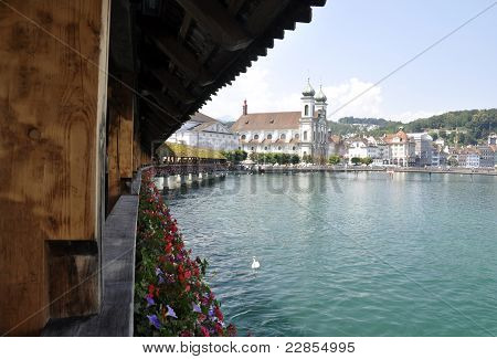 Lucern Switzerland Bridge Blue Lake