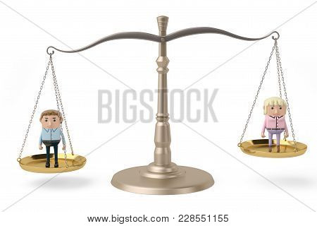 A  Man And Woman On The Scales,3D Illustration.