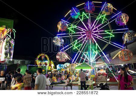 Roiet, Thailand - 20 Feb, 2018 ::  Ferris Wheel  At