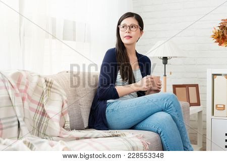 Asian Women Enjoy Drink Hot Chocolate