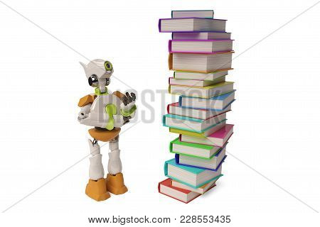 Robot With A Pile Of Book On White Background,3d Illustration.