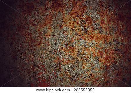 Metal Plate Corroded By Rust Of Red Color