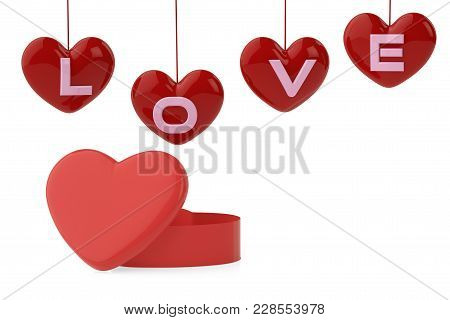 Heart-shaped Box And Love Letter. 3D Illustration.
