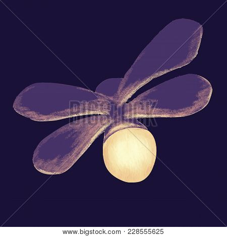 Firefly With Open Wings On Dark Background. Luminous Glowworm Symbol. Lightning Bugs Glowing At Nigh