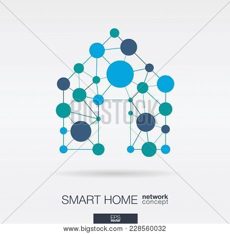 Smart Home Integrated Thin Lines And Circles. Digital Neural Network Interact Concept. Connected Pol