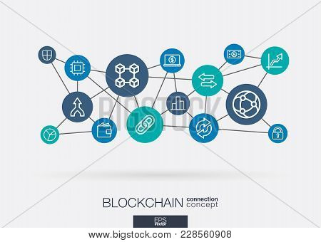Crypto Currency And Blockchain Integrated Thin Line Web Icons. Digital Neural Network Interact Conce