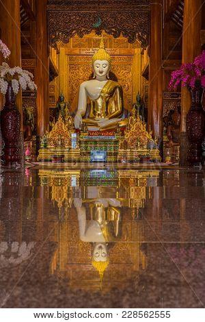 Chiangmai, Thailand - January 26, 2018 White Buddha Image With Golden Robe In Wat Ban Den, Beautiful