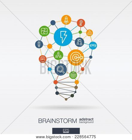 Brainstorm Integrated Thin Line Icons. Idea, Solution In Light Bulb Shape. Digital Network Concept.