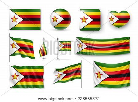 Set Zimbabwe Flags, Banners, Banners, Symbols, Realistic Icon. Vector Illustration Of Collection Of