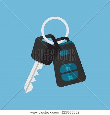 Car Key And Alarm System. Vector Illustration