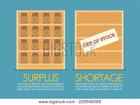 Surplus And Shortage Economic Concept Infographic. Vector Illustration