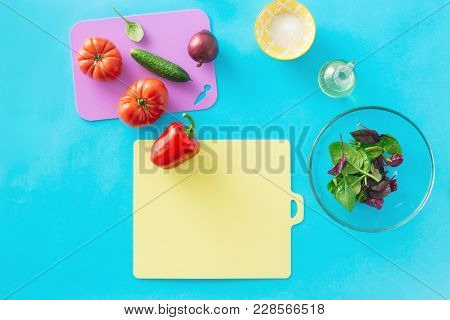 Fresh Ingredients Cooking Summer Salad Healthy Food Background