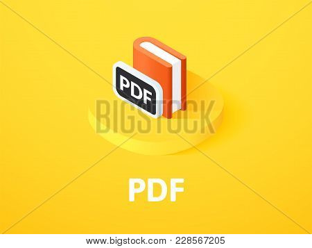 Pdf Icon, Vector Symbol In Flat Isometric Style Isolated On Color Background